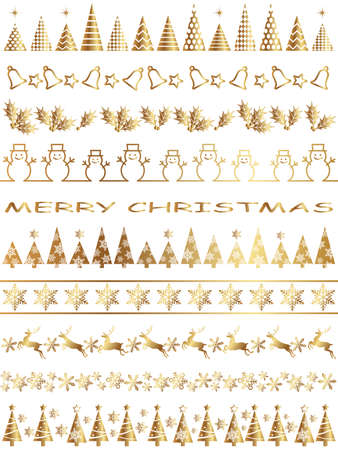 A set of assorted abstract borders for the Christmas season, vector illustration.