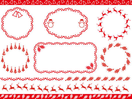A set of assorted abstract borders and frames for the Christmas season, vector illustration. Illustration