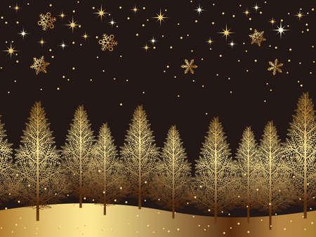 A seamless snowy landscape, fir trees pattern golden background design vector illustration. Çizim