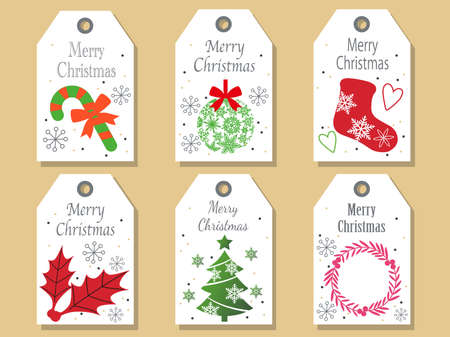 A set of assorted Christmas tags, vector illustrations.