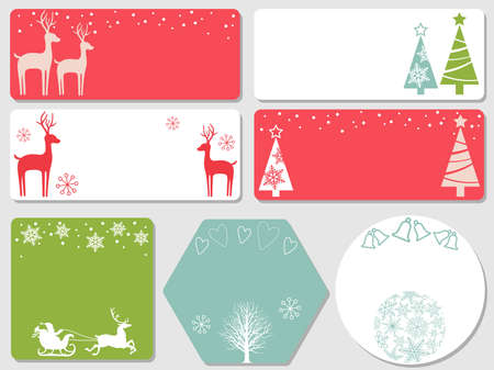 A set of assorted Christmas index cards, vector illustrations. (without sample text)