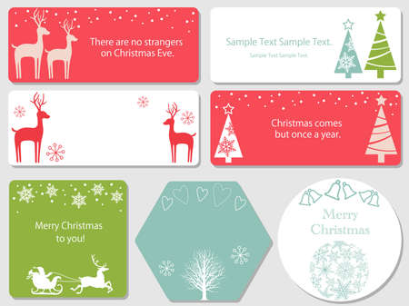 A set of assorted Christmas index cards, vector illustrations. Illustration