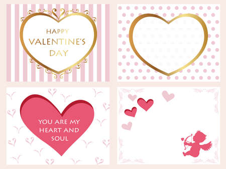 A set of assorted Valentine's Day cards, vector illustration.  イラスト・ベクター素材