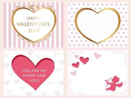 A set of assorted Valentine's Day cards, vector illustration. Ilustração