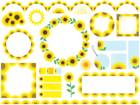 A set of assorted sunflower frames, borders and tags, vector illustration.