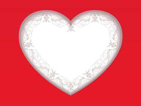 A Valentine's Day card with a white heart on a red background, vector illustration.