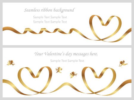 A set of two Valentine's Day cards with seamless gold ribbons and text space, vector illustration.