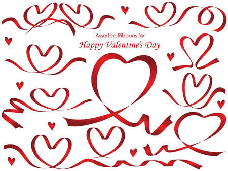 A set of assorted red ribbons arranged in heart shapes, vector illustration. Illustration