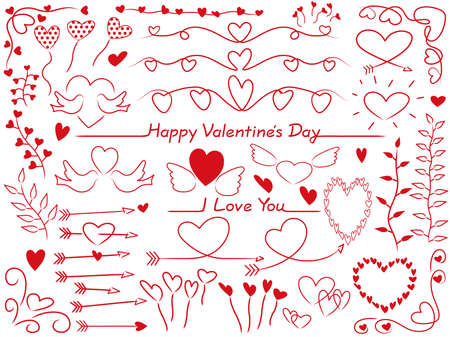 A set of assorted graphic elements for Valentine's Day, vector illustration. Illustration