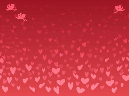 Seamless background vector illustrations for Valentine's Day with a heart-shaped pattern. Horizontally repeatable. Illusztráció