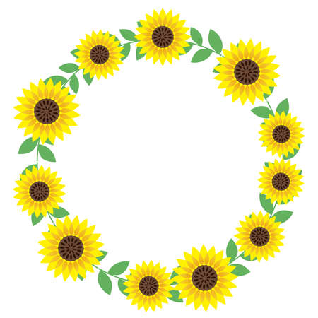 A circular sunflower frame with text space, vector illustration.