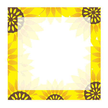 A square sunflower frame with text space, vector illustration. Illustration