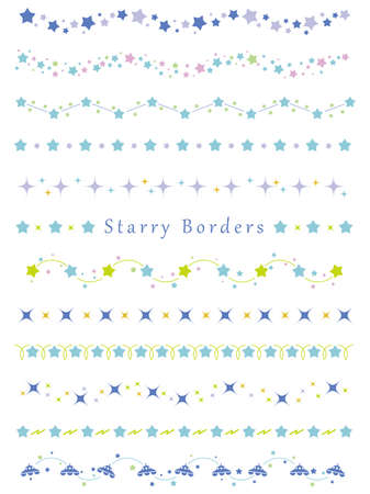 A set of assorted borders with various star patterns, vector illustrations.
