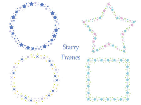 A set of four assorted frames with various star patterns vector illustrations. Foto de archivo - 93395586