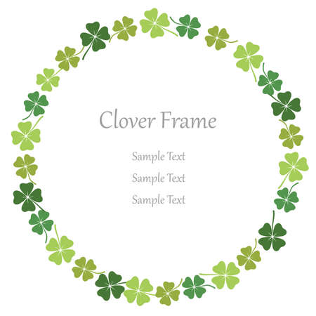 Four-leaf clover circular frame, vector illustration. Illustration