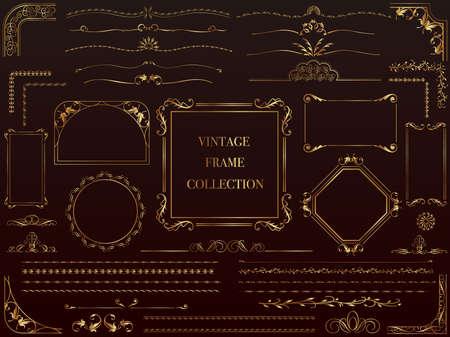 A set of assorted gold vintage frames, vector illustration.