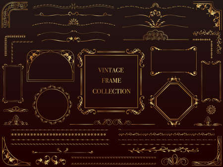 A set of assorted gold vintage frames, vector illustration.