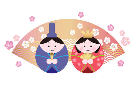 "Vector illustration of two dolls for the Japanese ""Hinamatsuri"", the Doll Festival."