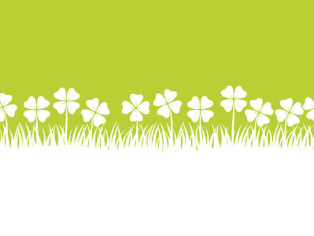 A seamless four-leafed clover background vector illustration with text space. Horizontally repeatable. Illustration