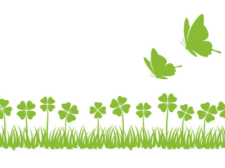 A seamless four-leafed clover and butterflies background with text space, vector illustration. Horizontally repeatable.