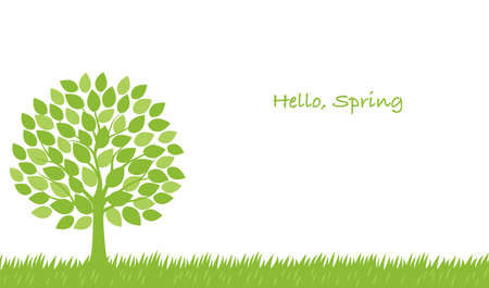 Seamless springtime vector illustration with a tree and text space. Horizontally repeatable.