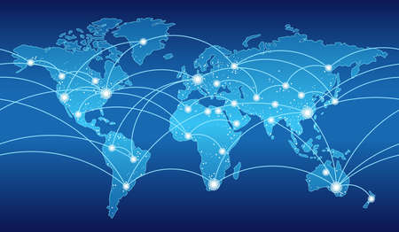 Seamless map of the global network system, vector illustration. Stock Illustratie