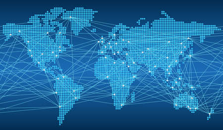 Seamless map of the global network system, vector illustration. Illustration