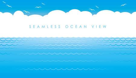Seamless ocean view, vector illustration. Horizontally repeatable.
