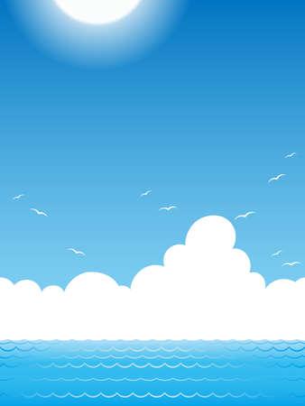 Seamless ocean view, vector illustration. Illustration