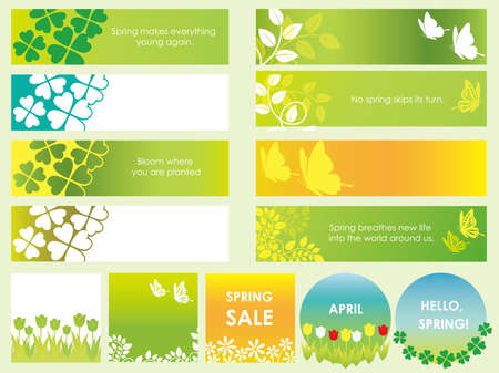 A set of assorted spring and summer cards banners, vector illustrations.