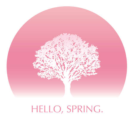 Cherry blossom tree in full bloom, with text space. Vector illustration. 向量圖像