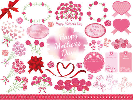 Set of assorted graphic elements for Mother's Day, vector illustration.