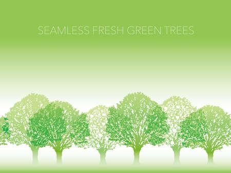 Fila inconsútil de árboles verdes frescos con el espacio del texto, ilustración del vector. Repetible horizontalmente. Ilustración de vector