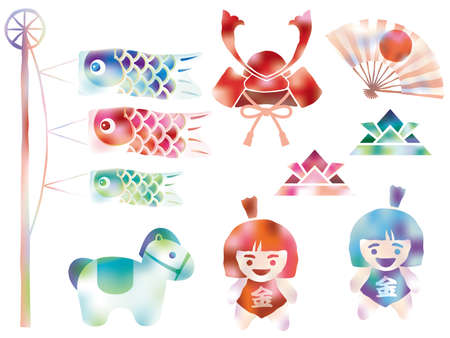"""Set of assorted vector graphic elements in watercolor style for the Japanese """"Kodomo No Hi"""", the Boys Festival."""