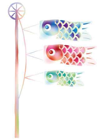 "Vector carp streamer in watercolor style for the Japanese ""Kodomo No Hi"", the Boys Festival."