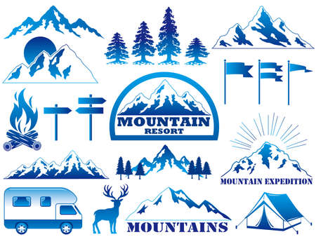 Set of assorted vector graphic elements and icons regarding mountain resort and outdoor activities.