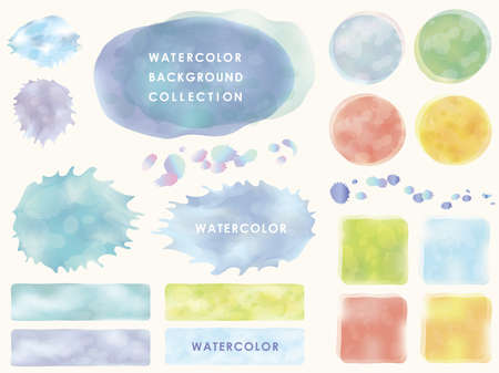 Set of watercolor backgrounds and frames, vector illustration.