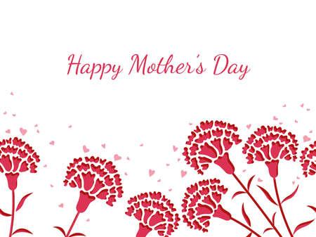 Nahtlose Vektorhintergrundillustration mit Blumen und Textraum für Muttertag. Horizontal wiederholbar. Vektorgrafik
