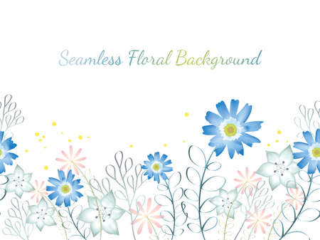 A Seamless watercolor flower background illustration with text space, vector illustration. Horizontally repeatable. Illustration