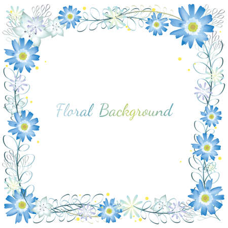 Watercolor square flower frame/background with text space, vector illustration.