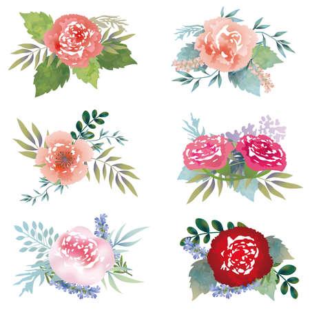 Conjunto de elementos florales surtidos, ilustración vectorial.