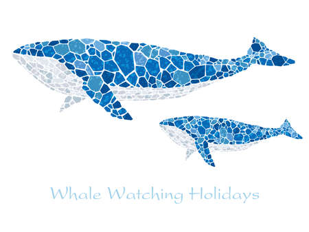 Mosaic blue whales with text space, vector illustration.