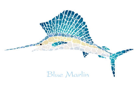 Mosaic blue marlin with text space, vector illustration.