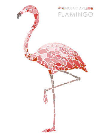 Mosaic pink flamingo, vector illustration.