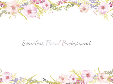 Watercolor seamless floral background with text space, vector illustration. Horizontally repeatable.