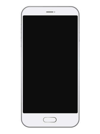 Smartphone with black screen isolated on white background, vector illustration.