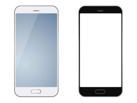 Smartphones isolated on white background, vector illustration.