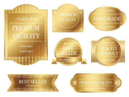 Conjunto de etiquetas doradas surtidas con espacio de texto sobre un fondo blanco, ilustración vectorial.