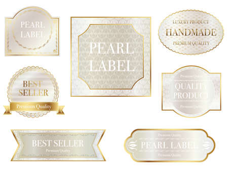 Set of assorted pearl-colored labels with text space on a white background, vector illustration.