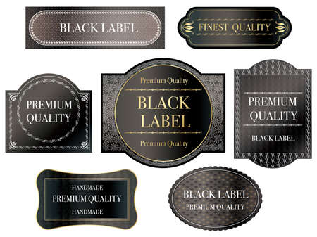 Set of assorted black labels with text space on a white background, vector illustration.